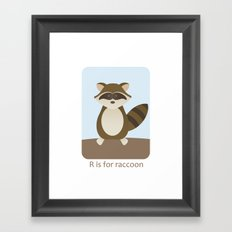 R is for Raccoon - Woodland Animals Framed Art Print