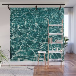 Blue Turquoise Teal Water Pattern Sunlight Reflecting Shimmering Wall Mural