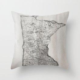 Old Map of Minnesota Throw Pillow