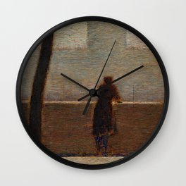 Man Leaning on a Parapet - Georges Seurat Wall Clock
