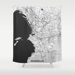 Marseille Map Gray Shower Curtain