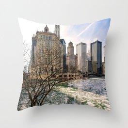 Frozen River Breaks Throw Pillow