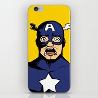 bucky barnes iPhone & iPod Skins featuring bucky!cap by zombietonbo