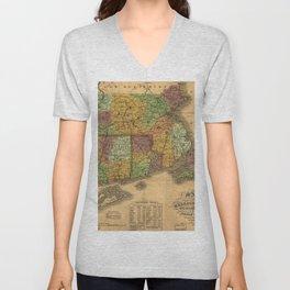 1831 Rhode Island, Connecticut, and Massachusetts Wall Map Unisex V-Neck