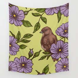 Purple Wild Rose Wall Tapestry
