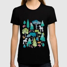 Geometric whimsical wonderland // navy blue background green forest with unicorns foxes gnomes and mushrooms T-shirt