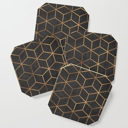 Charcoal and Gold - Geometric Textured Cube Design I Coaster