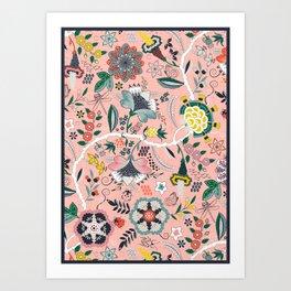 BOHO Chintz (Coral Pink) Art Print