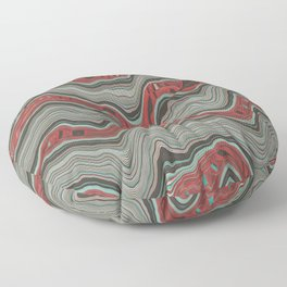 Red gray mosaic Floor Pillow