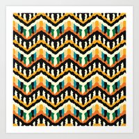 Ethnic tribal zigzag boho design of 70s Art Print