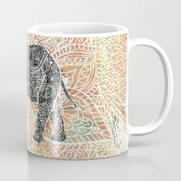 Tribal Paisley Elephant Colorful Henna Floral Pattern Coffee Mug
