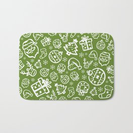 XMAS Green Pattern / Part One Bath Mat