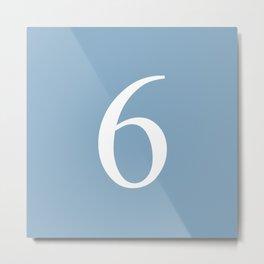 number six sign on placid blue color background Metal Print