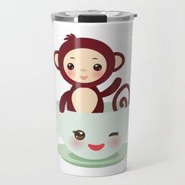 Cute Kawai pink cup with brown monkey Travel Mug