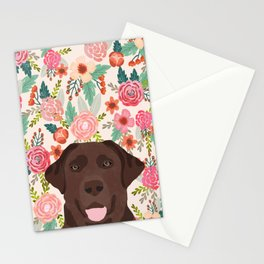 Chocolate Lab floral dog head cute labrador retriever must have pure breed dog gifts Stationery Cards