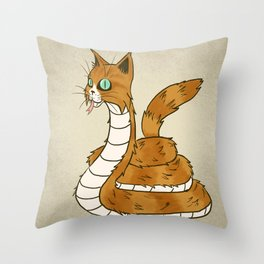 Cat Snake Throw Pillow