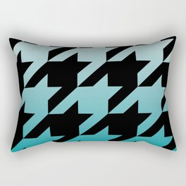 Rustic Turquoise Ombre Houndstooth Rectangular Pillow