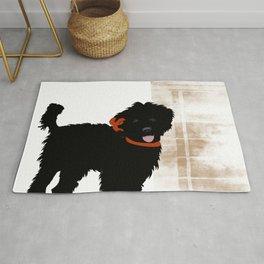 Black Labradoodle dog Rug