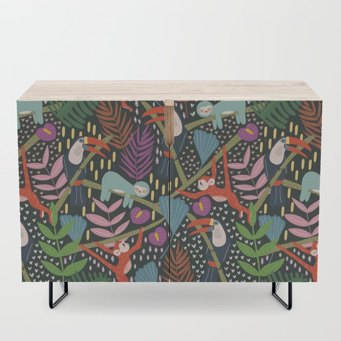 In_the_Jungle_Credenza_by_Mel_Armstrong__Black__Birch