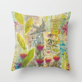 Purple Coneflower and Poppies Throw Pillow