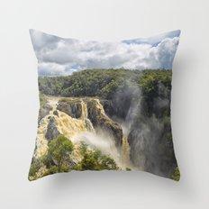 Beautiful wild waterfall Throw Pillow