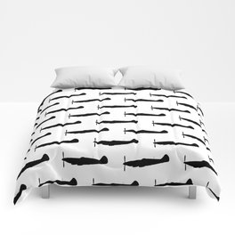 WW2 UK Fighter Aircraft silhouettes Comforters