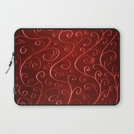 Whimsical Textured Glowing Rusty Red Swirls Laptop Sleeve