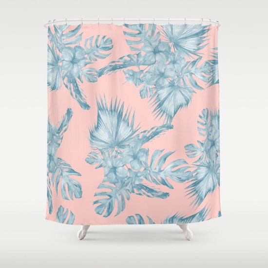 Dreaming Of Hawaii Pale Teal Blue On Millennial Pink Shower Curtain By Simple