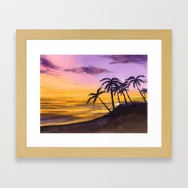 Palm Trees in Sunset (Watercolor) Framed Art Print