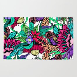 Girly Vibrant Flower Garden Illustrated Drawings Rug