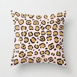Soft Pink Leopard Pattern Throw Pillow