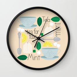 Mint Tea for Two Wall Clock