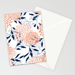 Floral Prints and Leaves, White, Coral and Navy Stationery Cards