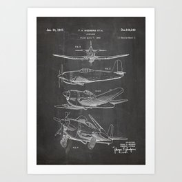 Wedberg Airplane Patent - Us Air Force Art - Black Chalkboard Art Print