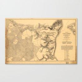 Siege of Yorktown Virginia Civil War Map (April 5-May 3 1862) Canvas Print