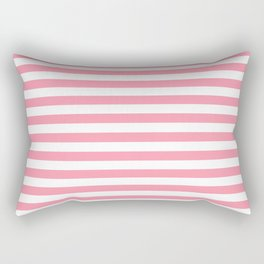 Light Pink and White Stripes Rectangular Pillow