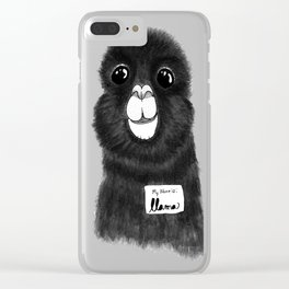 Funny Cute Hand Drawn Llama in Black and White Clear iPhone Case