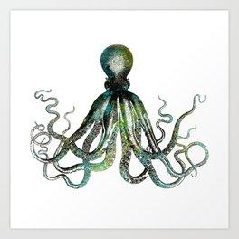 Octopus marine life watercolor art Art Print