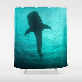 Whale shark silhouette Shower Curtain