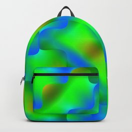 Bright pattern of blurry green and blue flowers in a light kaleidoscope. Backpack
