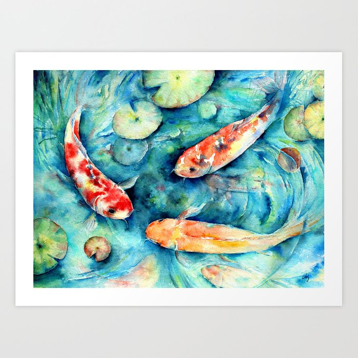 Watercolor koi fish in lily pond impressionist art print for Koi fish paintings prints