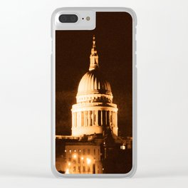 St Paul's Cathedral in Sepia & Dry Brush Effect Clear iPhone Case