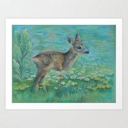 Little Roe on the spring meadow Wildlife Deer Pastel drawing Fawn Art Print