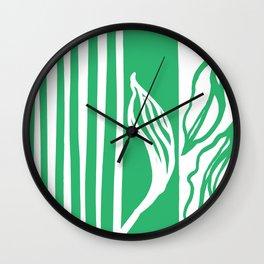 Long Leaf Stripe green Wall Clock