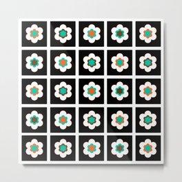 Modern Flowers In Black Tiles Design Metal Print