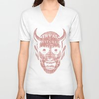 satan V-neck T-shirts featuring Satan by Gurven