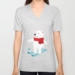 Lets Go Skiing with Mr Polar Bear this Merry Christmas Unisex V-Neck