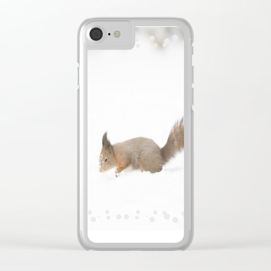 Little squirrel sitting in the snow Clear iPhone Case