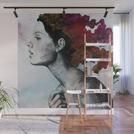 Moral Red Eclipse (colorful hair woman with moths tattoos) Wall Mural
