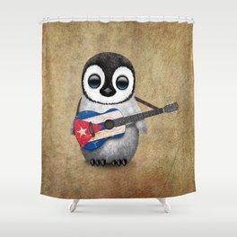 Baby Penguin Playing Cuban Flag Guitar Shower Curtain